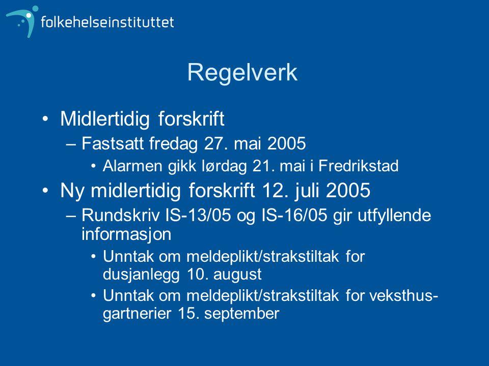 Regelverk •Midlertidig forskrift –Fastsatt fredag 27. mai 2005 •Alarmen gikk lørdag 21. mai i Fredrikstad •Ny midlertidig forskrift 12. juli 2005 –Run