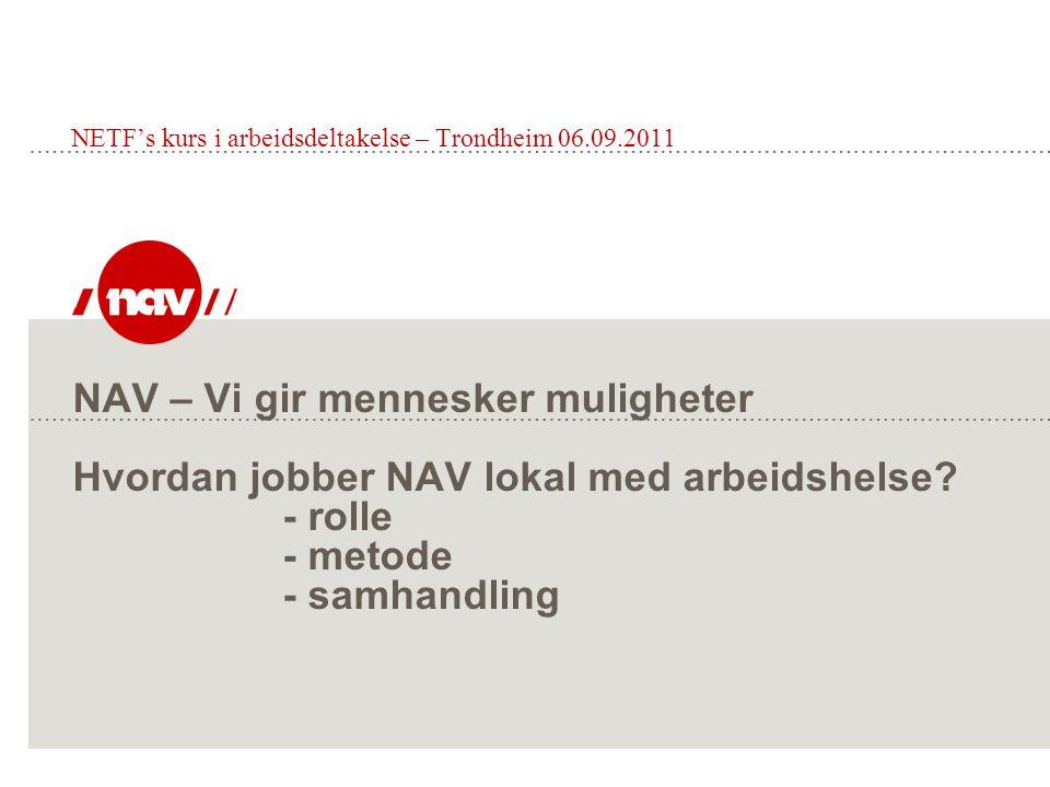 NAV – Vi gir mennesker muligheter Hvordan jobber NAV lokal med arbeidshelse.