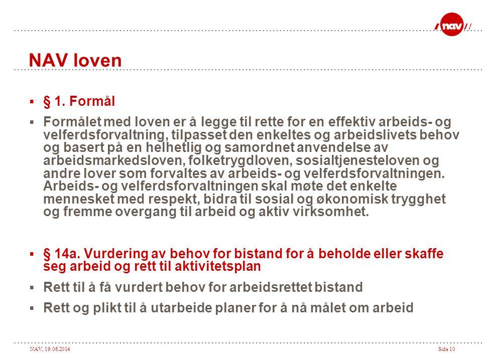 NAV, 19.06.2014Side 10 NAV loven  § 1. Formål  Formålet med loven er å legge til rette for en effektiv arbeids- og velferdsforvaltning, tilpasset de