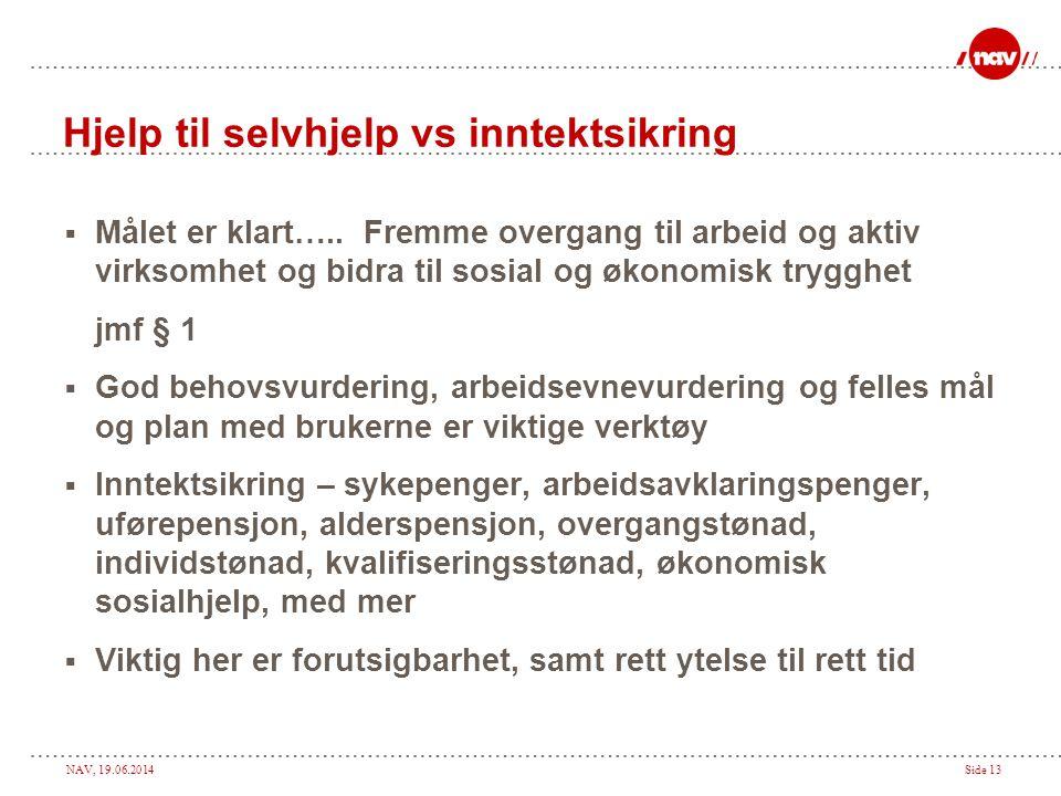 NAV, 19.06.2014Side 13 Hjelp til selvhjelp vs inntektsikring  Målet er klart…..