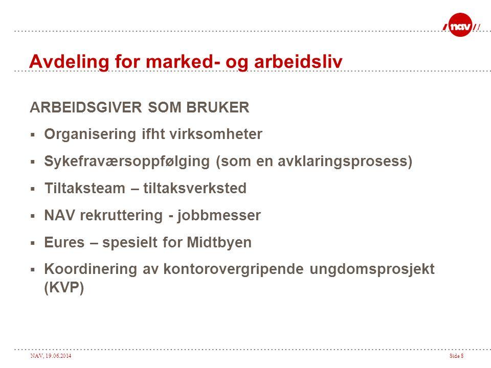 NAV, 19.06.2014Side 8 Avdeling for marked- og arbeidsliv ARBEIDSGIVER SOM BRUKER  Organisering ifht virksomheter  Sykefraværsoppfølging (som en avkl