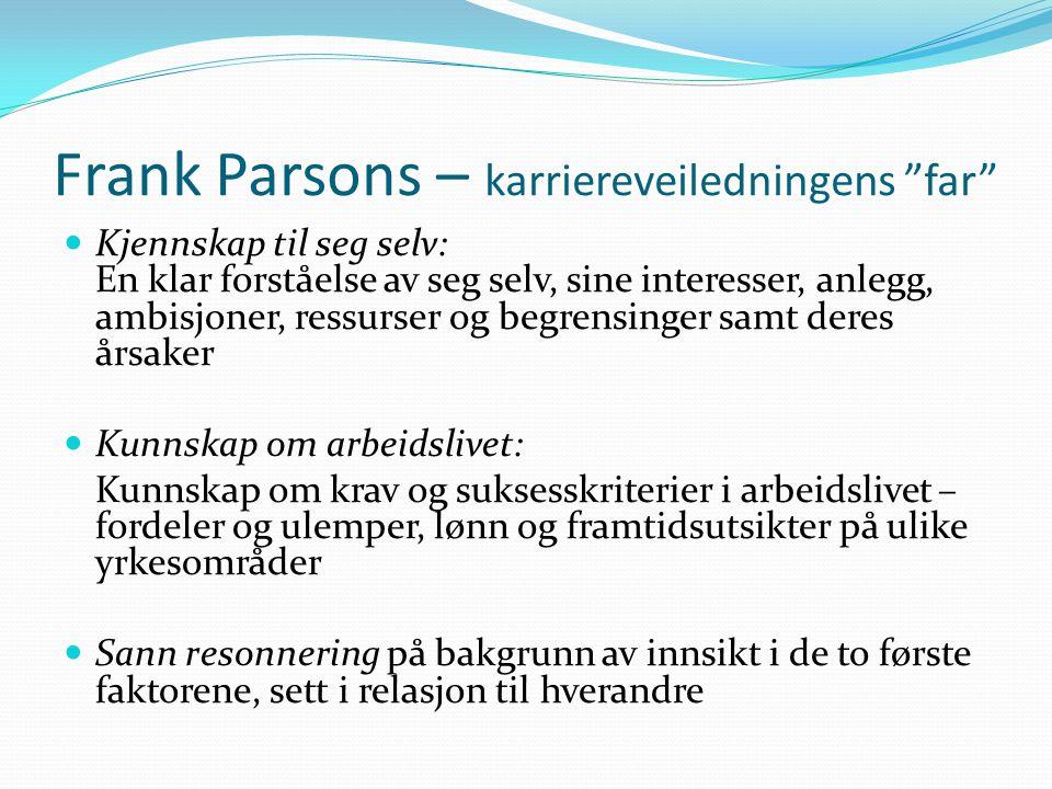 """Frank Parsons – karriereveiledningens """"far""""  Kjennskap til seg selv: En klar forståelse av seg selv, sine interesser, anlegg, ambisjoner, ressurser o"""