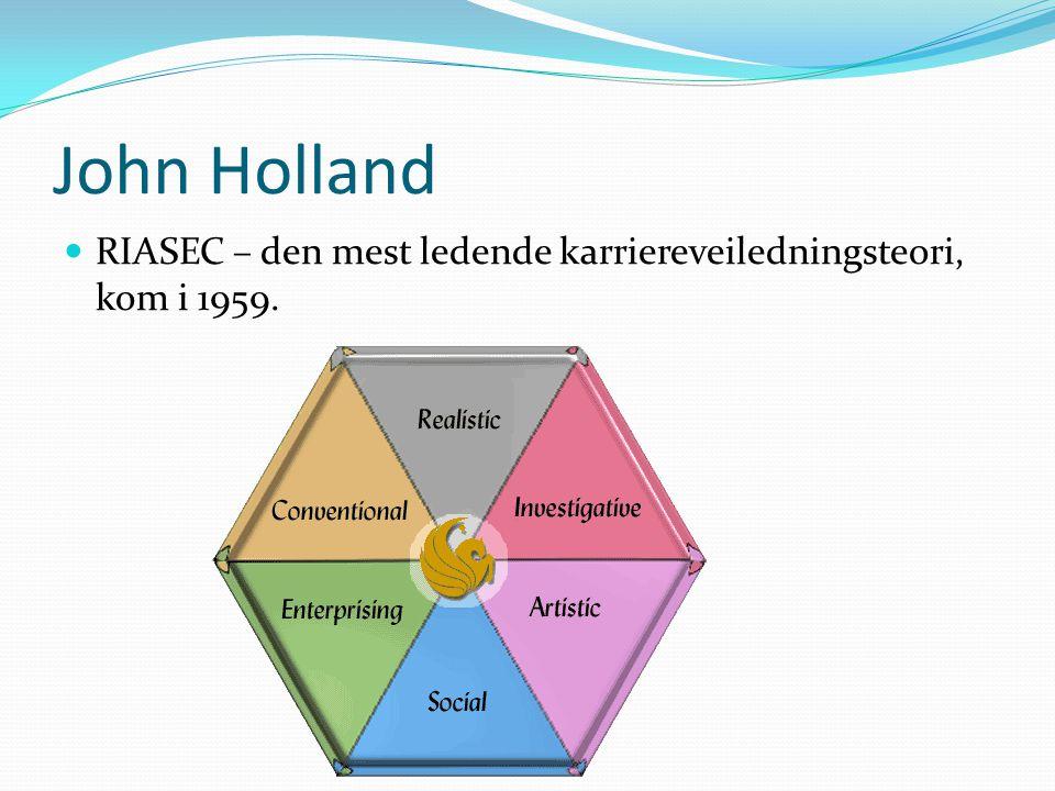 John Holland  RIASEC – den mest ledende karriereveiledningsteori, kom i 1959.