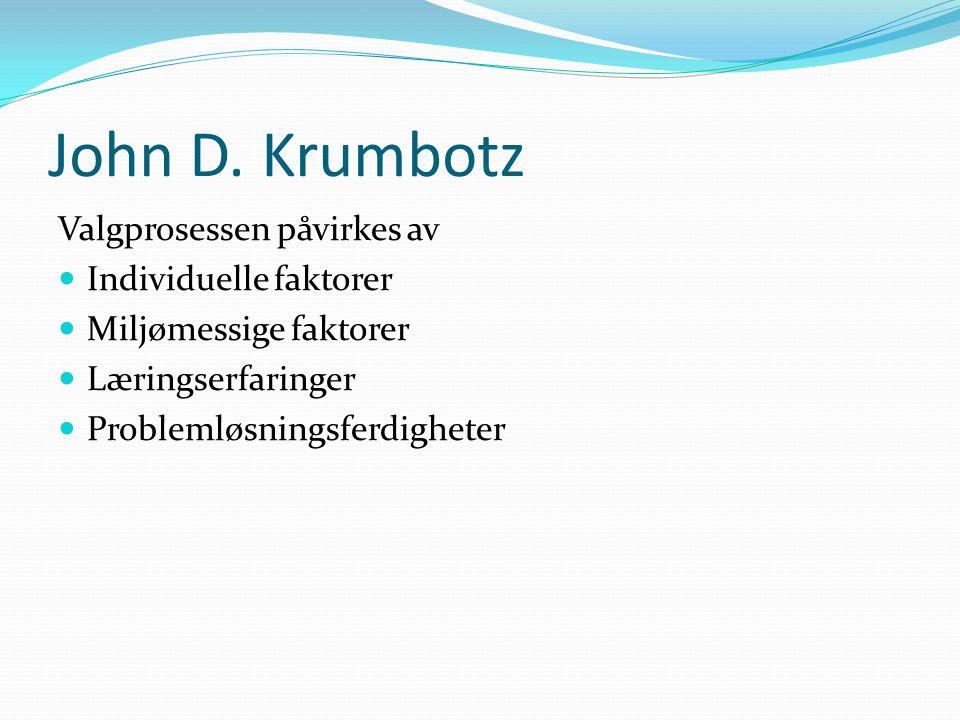 John D. Krumbotz Valgprosessen påvirkes av  Individuelle faktorer  Miljømessige faktorer  Læringserfaringer  Problemløsningsferdigheter