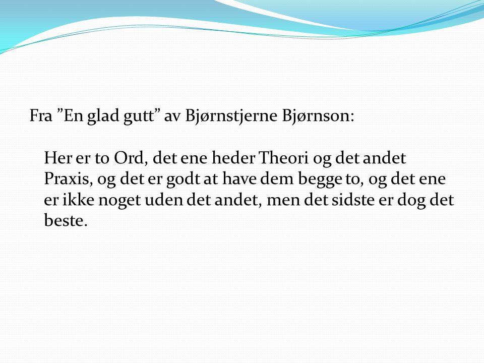 Fra En glad gutt av Bjørnstjerne Bjørnson: Her er to Ord, det ene heder Theori og det andet Praxis, og det er godt at have dem begge to, og det ene er ikke noget uden det andet, men det sidste er dog det beste.
