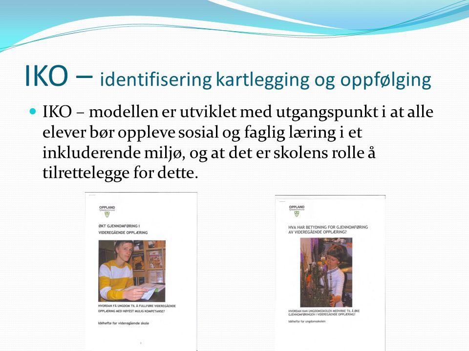 IKO – identifisering kartlegging og oppfølging  IKO – modellen er utviklet med utgangspunkt i at alle elever bør oppleve sosial og faglig læring i et inkluderende miljø, og at det er skolens rolle å tilrettelegge for dette.