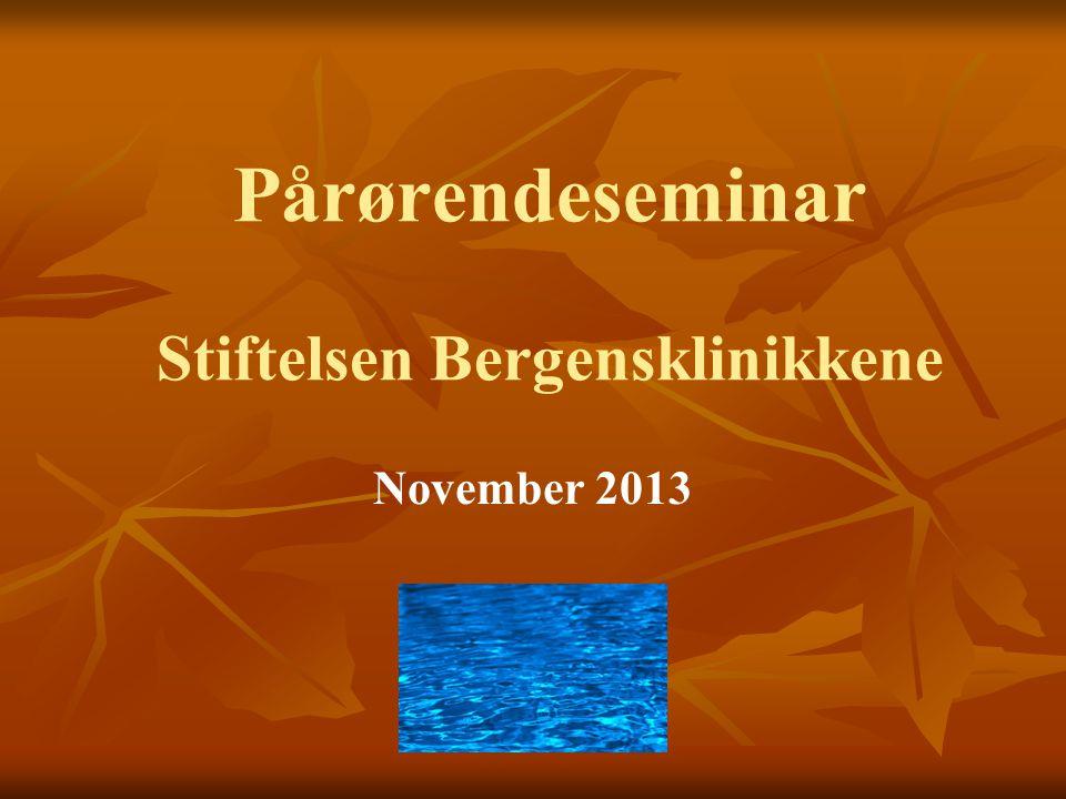 Pårørendeseminar Stiftelsen Bergensklinikkene November 2013