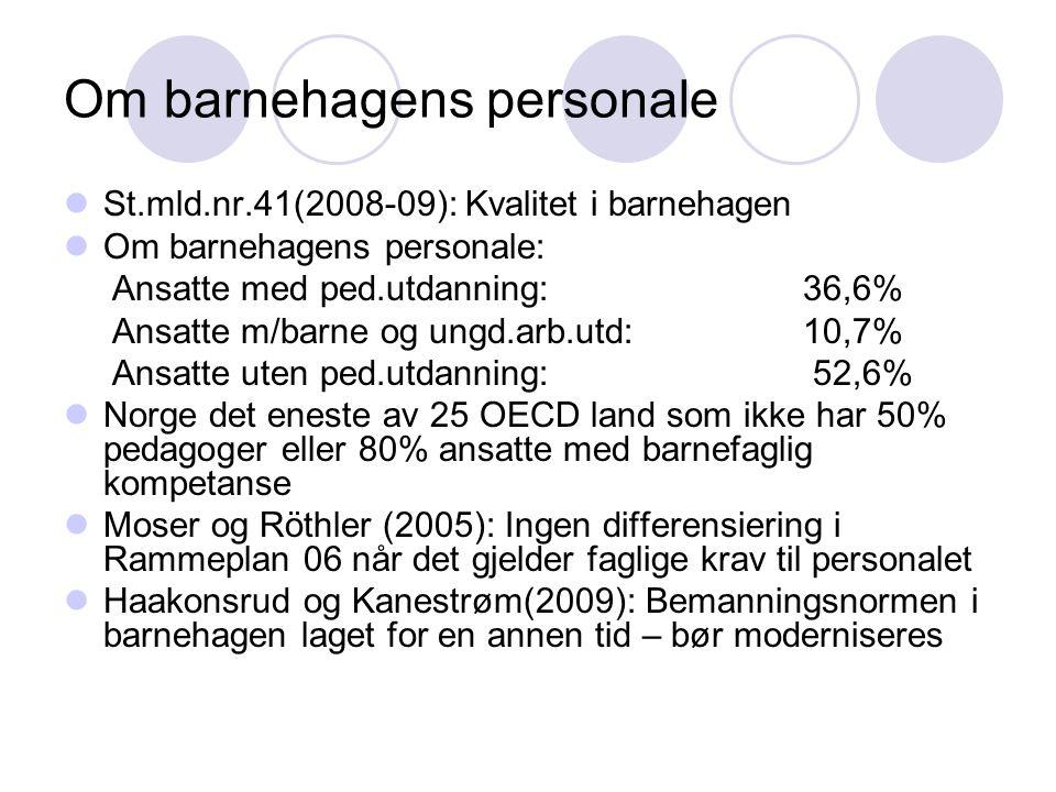Om barnehagens personale  St.mld.nr.41(2008-09): Kvalitet i barnehagen  Om barnehagens personale: Ansatte med ped.utdanning: 36,6% Ansatte m/barne o