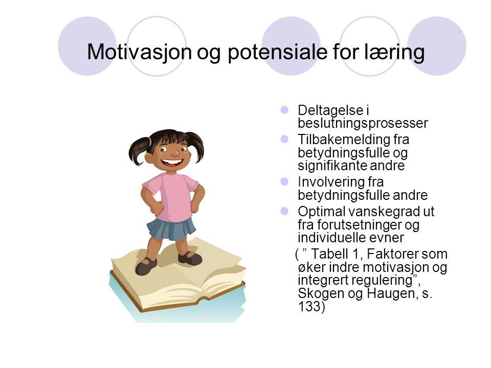 Motivasjon og potensiale for læring  Deltagelse i beslutningsprosesser  Tilbakemelding fra betydningsfulle og signifikante andre  Involvering fra b