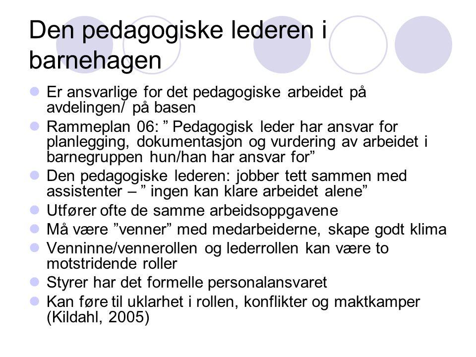 """Den pedagogiske lederen i barnehagen  Er ansvarlige for det pedagogiske arbeidet på avdelingen/ på basen  Rammeplan 06: """" Pedagogisk leder har ansva"""