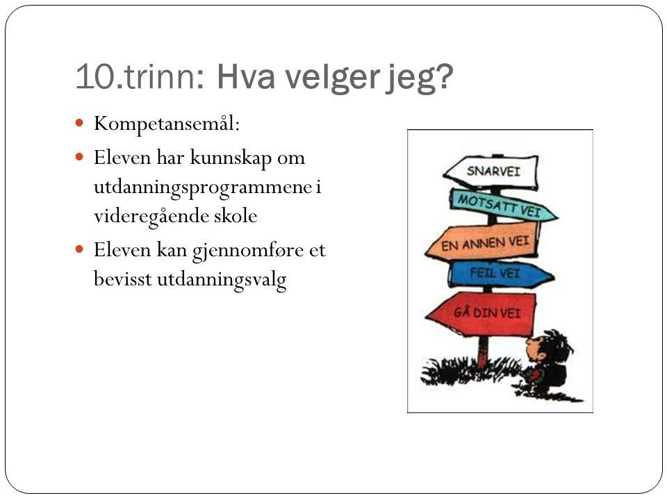 10.trinn: Hva velger jeg?  Kompetansemål:  Eleven har kunnskap om utdanningsprogrammene i videregående skole  Eleven kan gjennomføre et bevisst utd
