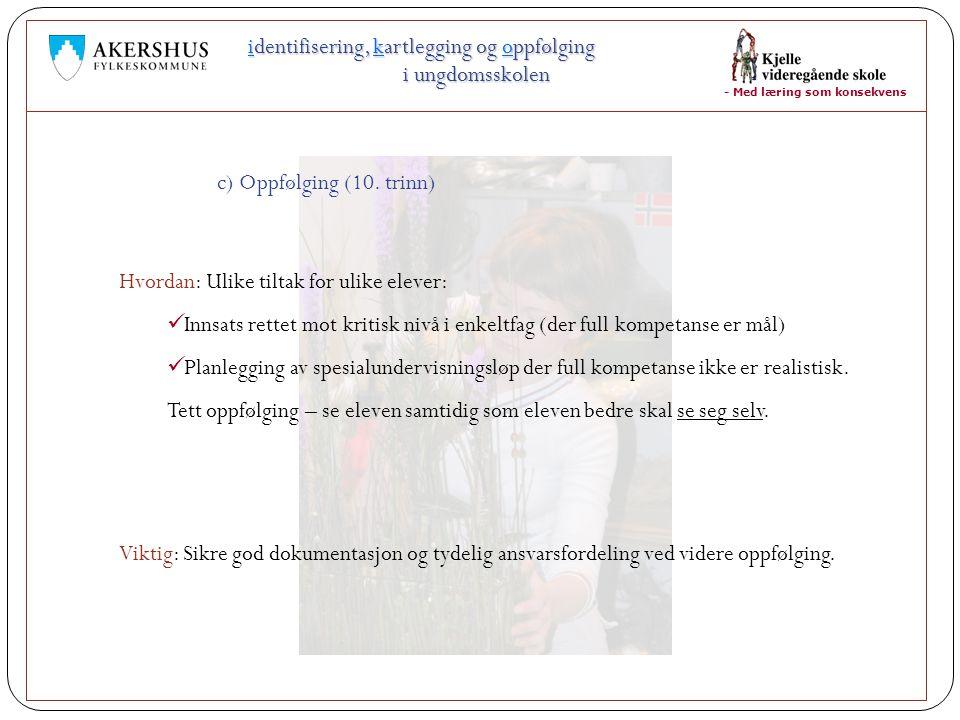- Med læring som konsekvens identifisering, kartlegging og oppfølging i ungdomsskolen Viktig: Sikre god dokumentasjon og tydelig ansvarsfordeling ved