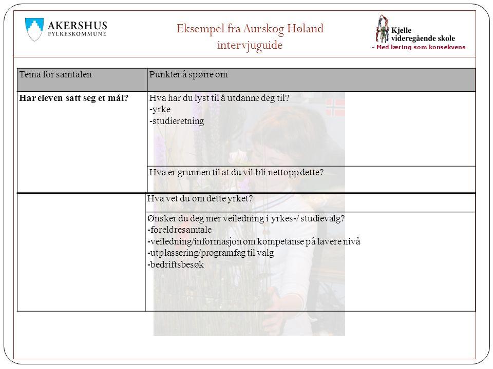 - Med læring som konsekvens Eksempel fra Aurskog Høland intervjuguide Tema for samtalenPunkter å spørre om Har eleven satt seg et mål?Hva har du lyst