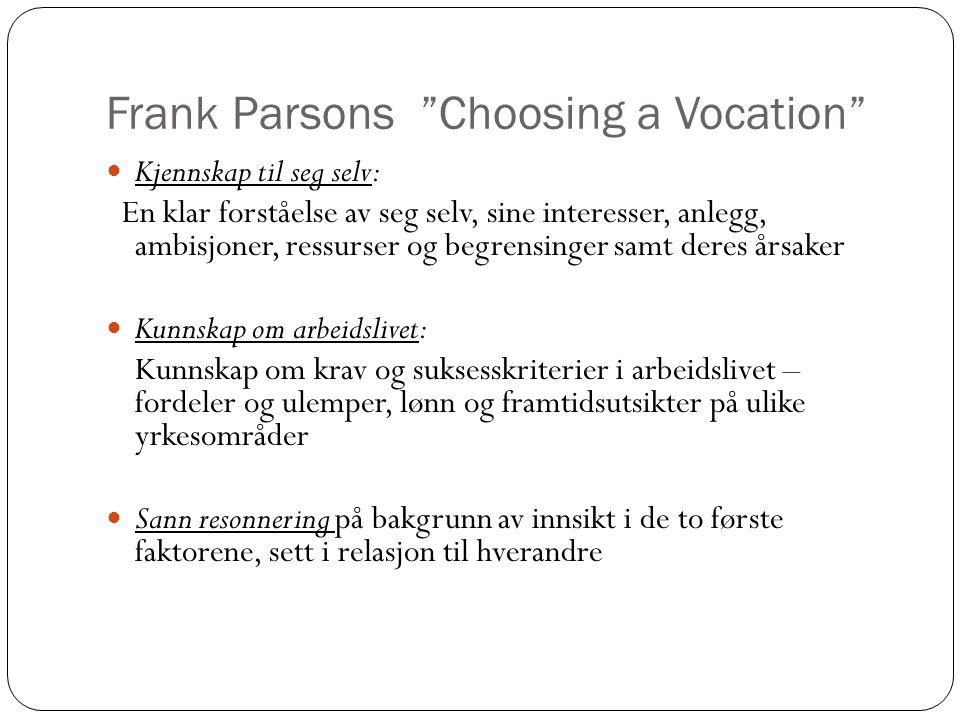 """Frank Parsons """"Choosing a Vocation""""  Kjennskap til seg selv: En klar forståelse av seg selv, sine interesser, anlegg, ambisjoner, ressurser og begren"""