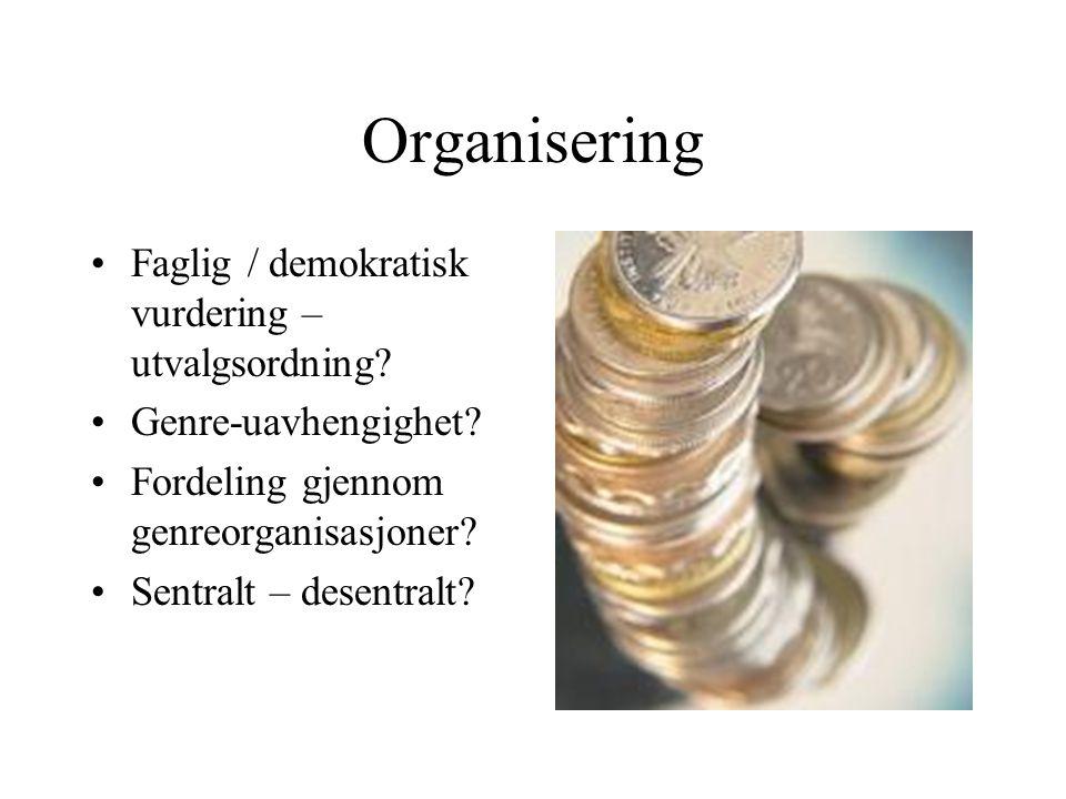 Organisering •Faglig / demokratisk vurdering – utvalgsordning.