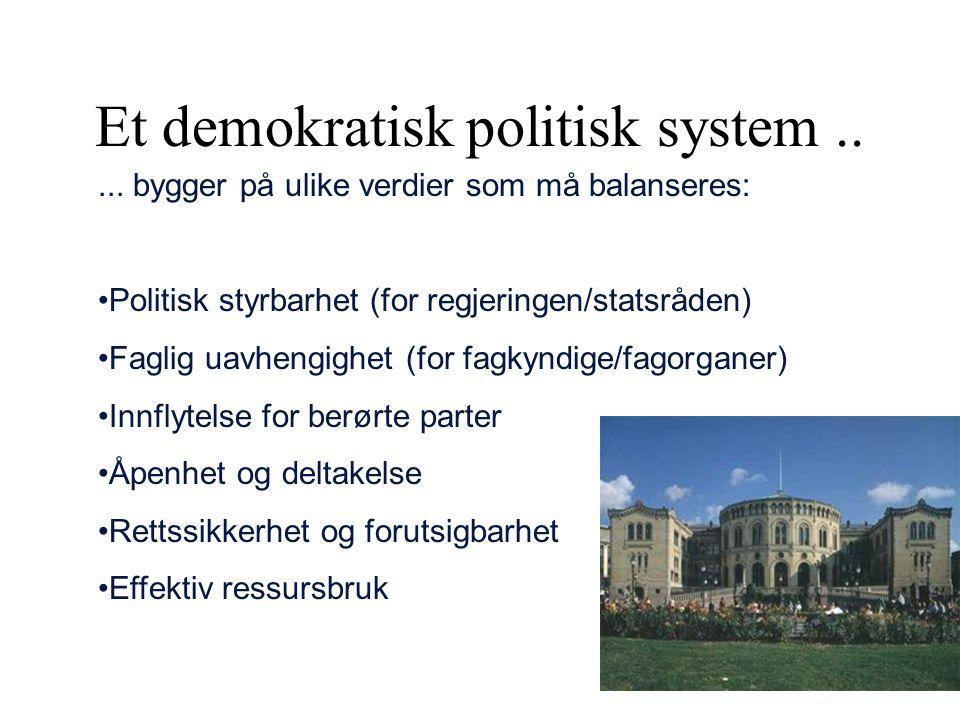 Et demokratisk politisk system.....