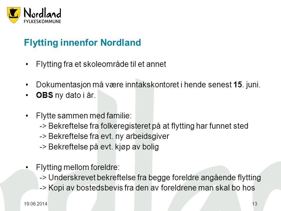 19.06.201413 Flytting innenfor Nordland •Flytting fra et skoleområde til et annet •Dokumentasjon må være inntakskontoret i hende senest 15. juni. •OBS