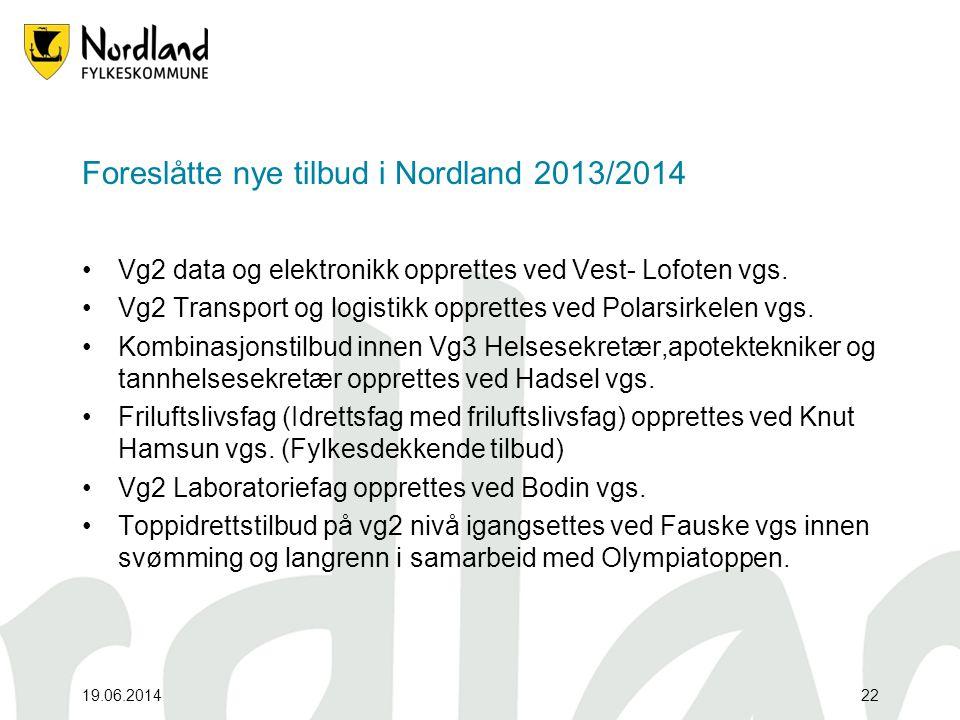 19.06.201422 Foreslåtte nye tilbud i Nordland 2013/2014 •Vg2 data og elektronikk opprettes ved Vest- Lofoten vgs. •Vg2 Transport og logistikk opprette