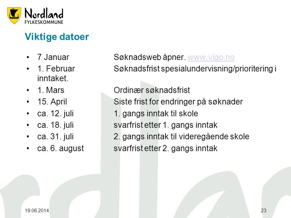 19.06.201423 Viktige datoer •7 Januar Søknadsweb åpner. www.vigo.nowww.vigo.no •1. Februar Søknadsfrist spesialundervisning/prioritering i inntaket. •
