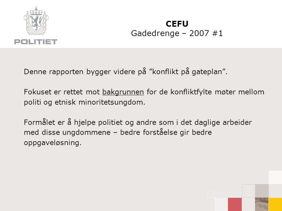 """CEFU Gadedrenge – 2007 #1 Denne rapporten bygger videre på """"konflikt på gateplan"""". Fokuset er rettet mot bakgrunnen for de konfliktfylte møter mellom"""
