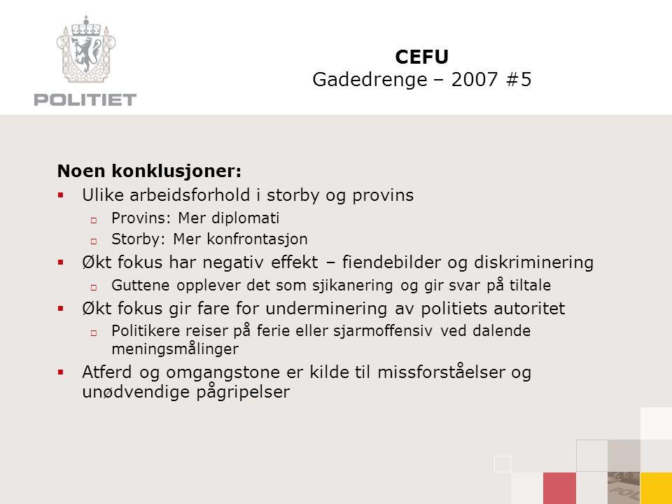 CEFU Gadedrenge – 2007 #5 Noen konklusjoner:  Ulike arbeidsforhold i storby og provins  Provins: Mer diplomati  Storby: Mer konfrontasjon  Økt fok