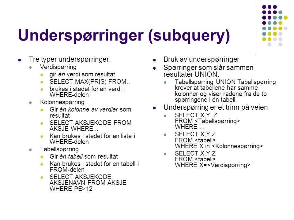 Underspørringer (subquery)  Tre typer underspørringer:  Verdispørring  gir én verdi som resultat  SELECT MAX(PRIS) FROM..