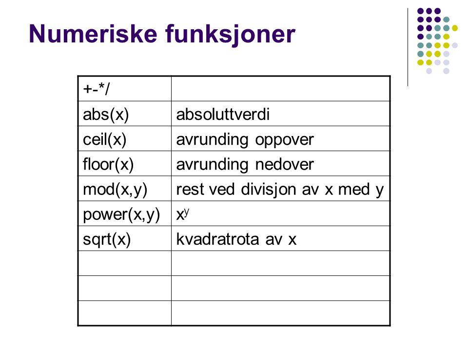 Numeriske funksjoner +-*/ abs(x)absoluttverdi ceil(x)avrunding oppover floor(x)avrunding nedover mod(x,y)rest ved divisjon av x med y power(x,y)xyxy sqrt(x)kvadratrota av x