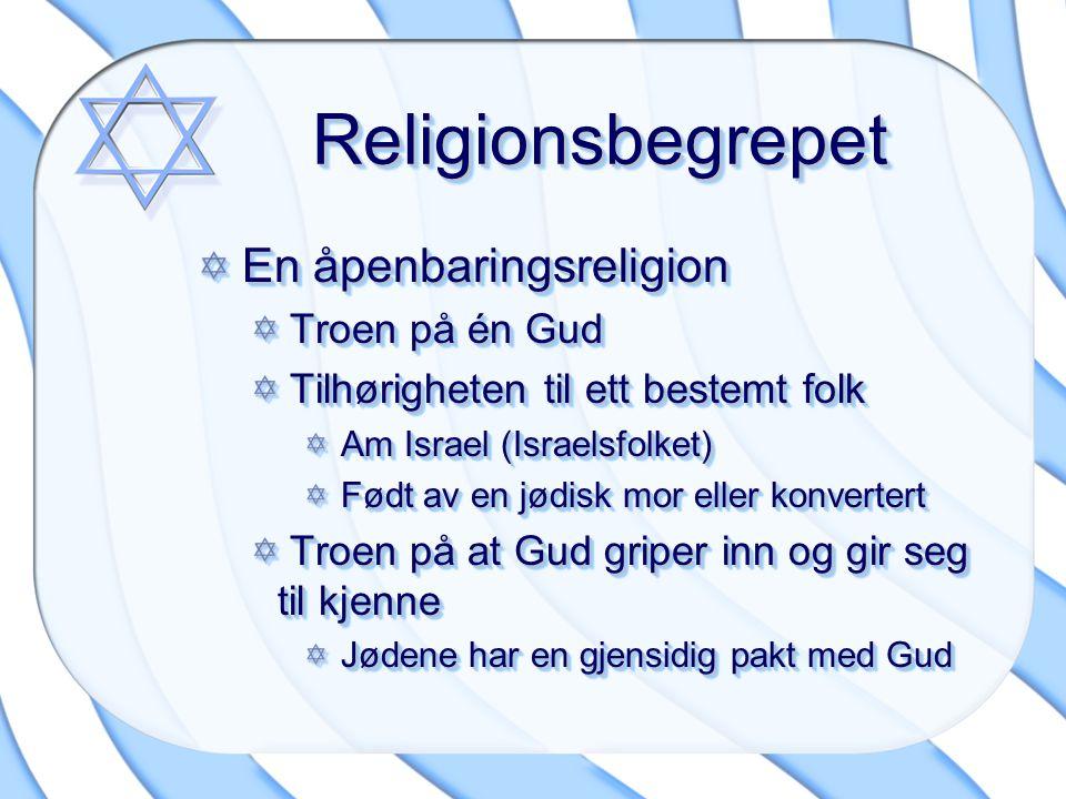 ReligionsbegrepetReligionsbegrepet En åpenbaringsreligion En åpenbaringsreligion Troen på én Gud Troen på én Gud Tilhørigheten til ett bestemt folk Ti