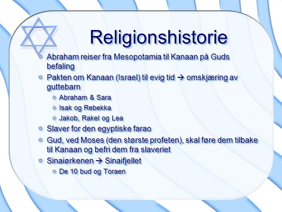 ReligionshistorieReligionshistorie Abraham reiser fra Mesopotamia til Kanaan på Guds befaling Pakten om Kanaan (Israel) til evig tid  omskjæring av g