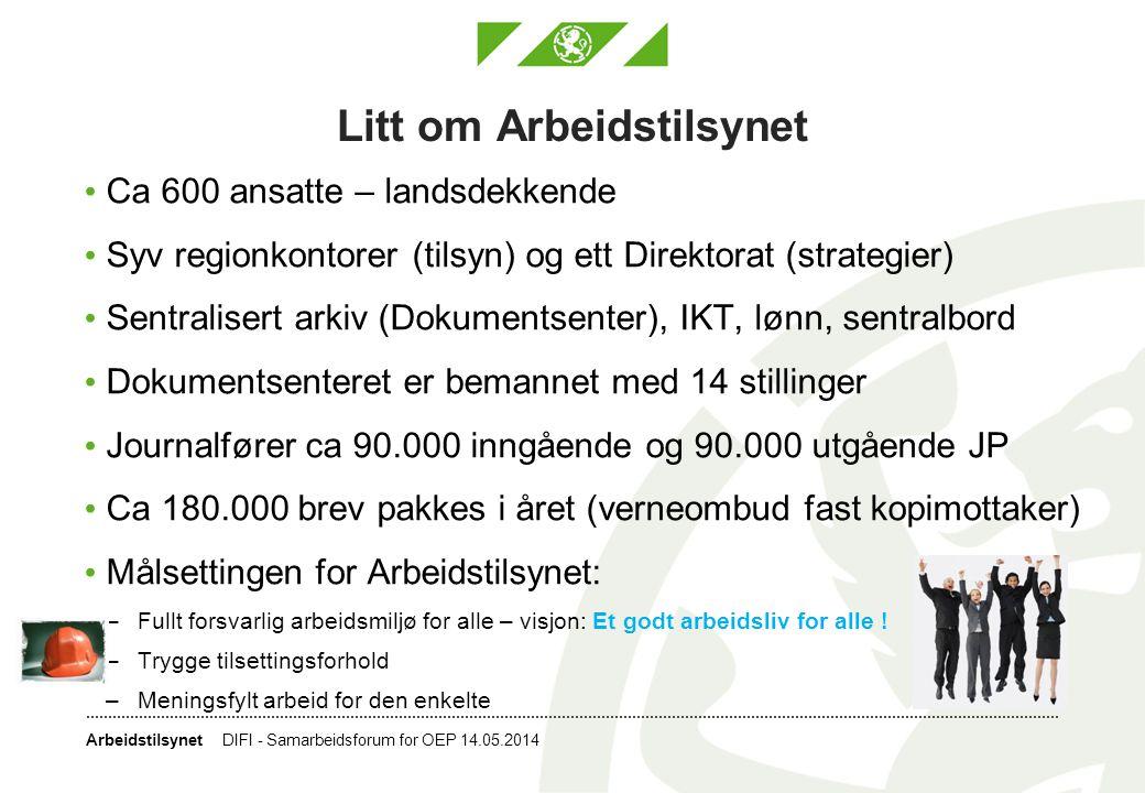 Arbeidstilsynet Litt om Arbeidstilsynet • Ca 600 ansatte – landsdekkende • Syv regionkontorer (tilsyn) og ett Direktorat (strategier) • Sentralisert a