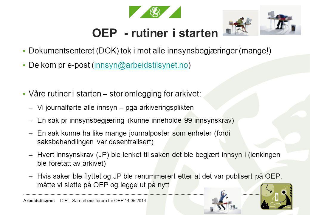 Arbeidstilsynet OEP - rutiner i starten • Dokumentsenteret (DOK) tok i mot alle innsynsbegjæringer (mange!) • De kom pr e-post (innsyn@arbeidstilsynet