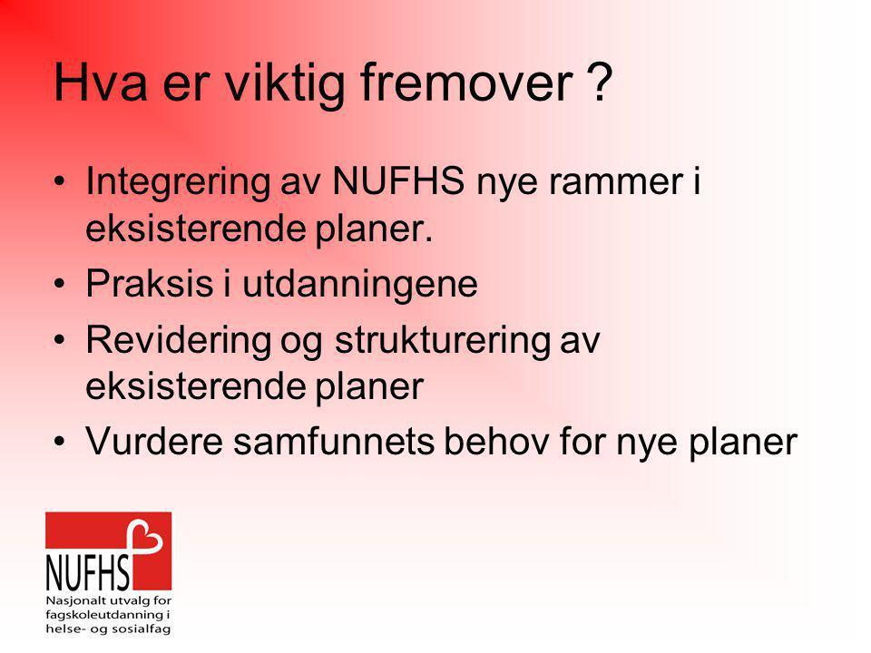 Hva er viktig fremover ? •Integrering av NUFHS nye rammer i eksisterende planer. •Praksis i utdanningene •Revidering og strukturering av eksisterende