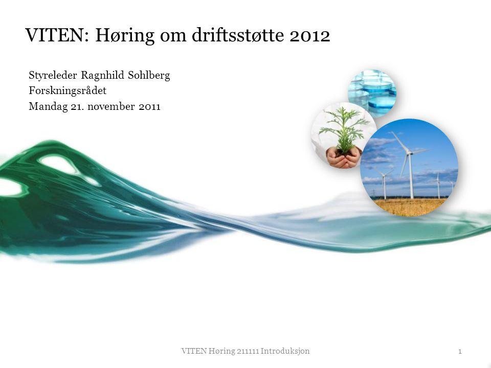 VITEN: Høring om driftsstøtte 2012 Styreleder Ragnhild Sohlberg Forskningsrådet Mandag 21. november 2011 1VITEN Høring 211111 Introduksjon