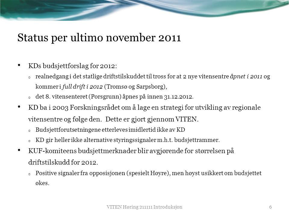 Status per ultimo november 2011 • KDs budsjettforslag for 2012: o realnedgang i det statlige driftstilskuddet til tross for at 2 nye vitensentre åpnet