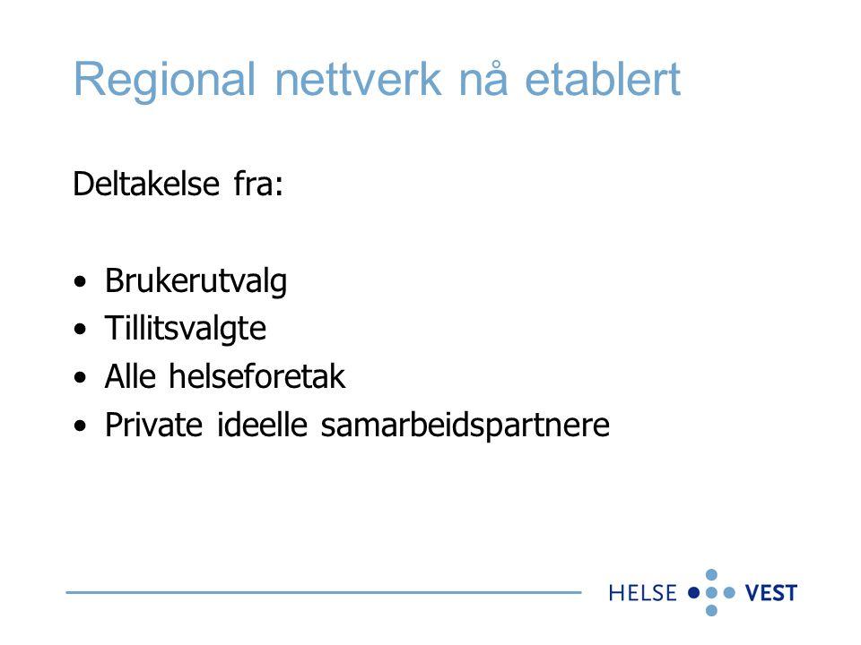 Regional nettverk nå etablert Deltakelse fra: •Brukerutvalg •Tillitsvalgte •Alle helseforetak •Private ideelle samarbeidspartnere