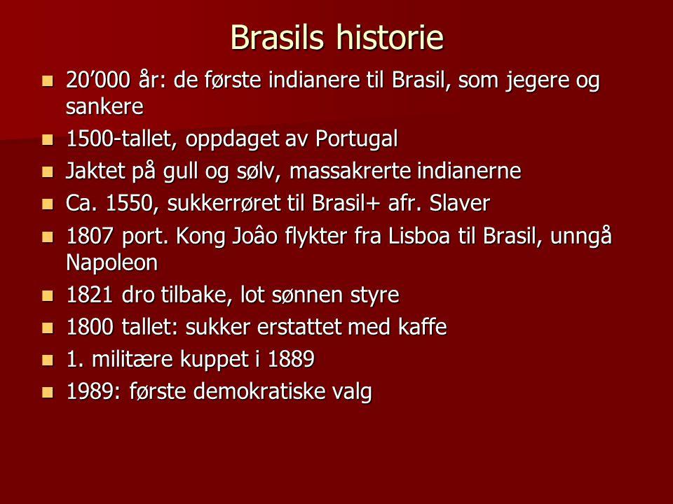 Brasils historie  20'000 år: de første indianere til Brasil, som jegere og sankere  1500-tallet, oppdaget av Portugal  Jaktet på gull og sølv, massakrerte indianerne  Ca.