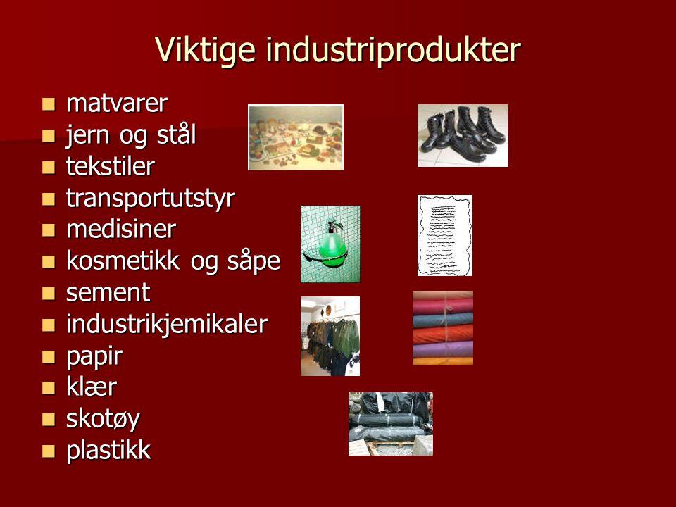 Viktige industriprodukter  matvarer  jern og stål  tekstiler  transportutstyr  medisiner  kosmetikk og såpe  sement  industrikjemikaler  papir  klær  skotøy  plastikk