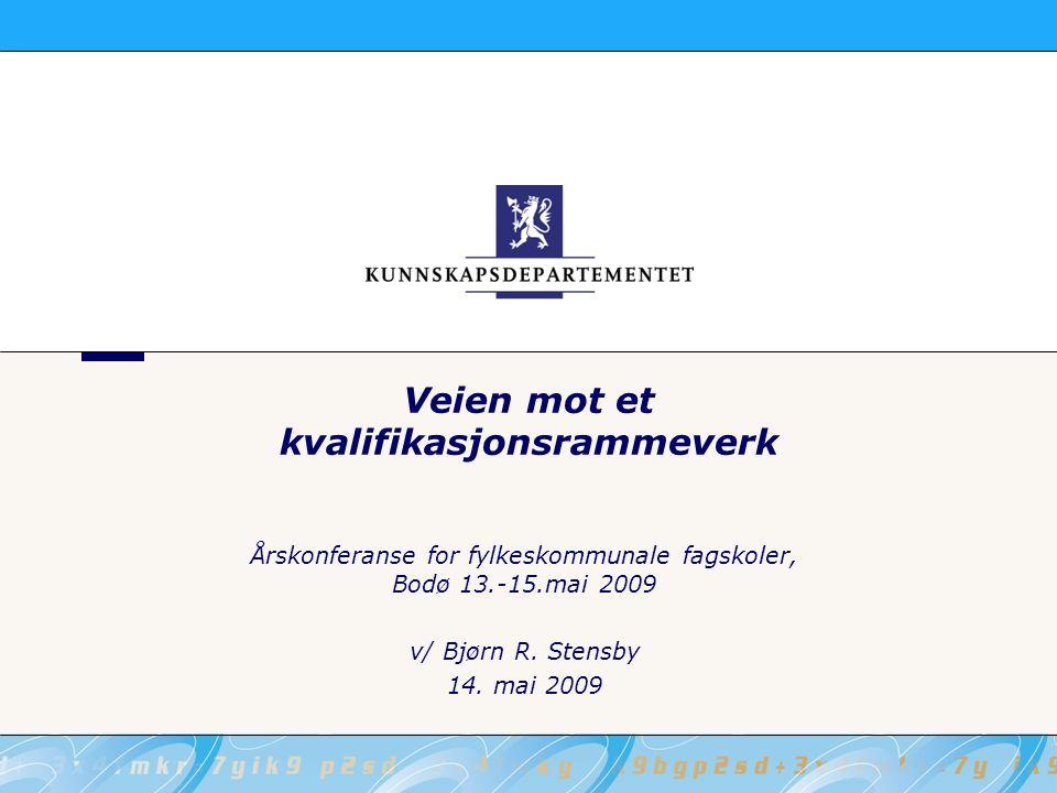 Veien mot et kvalifikasjonsrammeverk Årskonferanse for fylkeskommunale fagskoler, Bodø 13.-15.mai 2009 v/ Bjørn R.