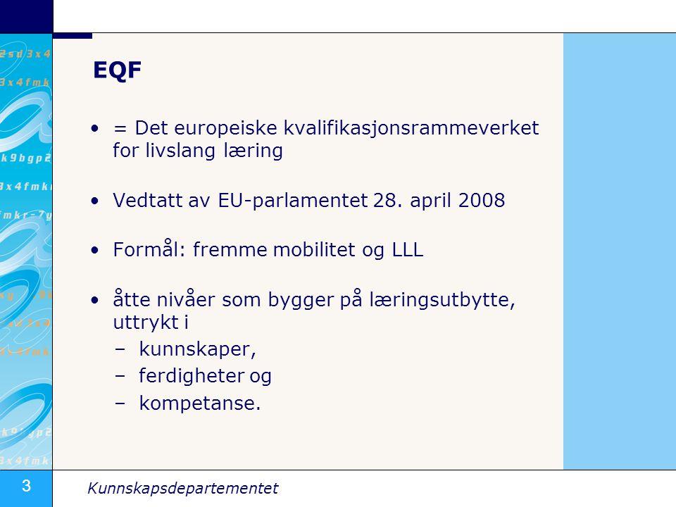 3 Kunnskapsdepartementet EQF •= Det europeiske kvalifikasjonsrammeverket for livslang læring •Vedtatt av EU-parlamentet 28.