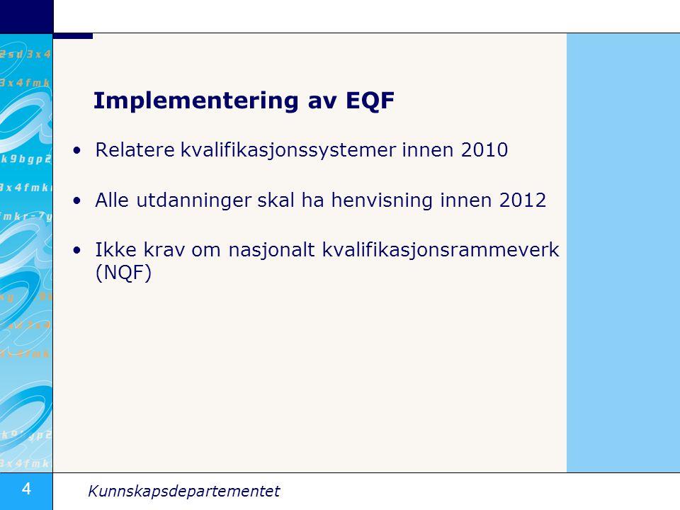 4 Kunnskapsdepartementet Implementering av EQF •Relatere kvalifikasjonssystemer innen 2010 •Alle utdanninger skal ha henvisning innen 2012 •Ikke krav om nasjonalt kvalifikasjonsrammeverk (NQF)