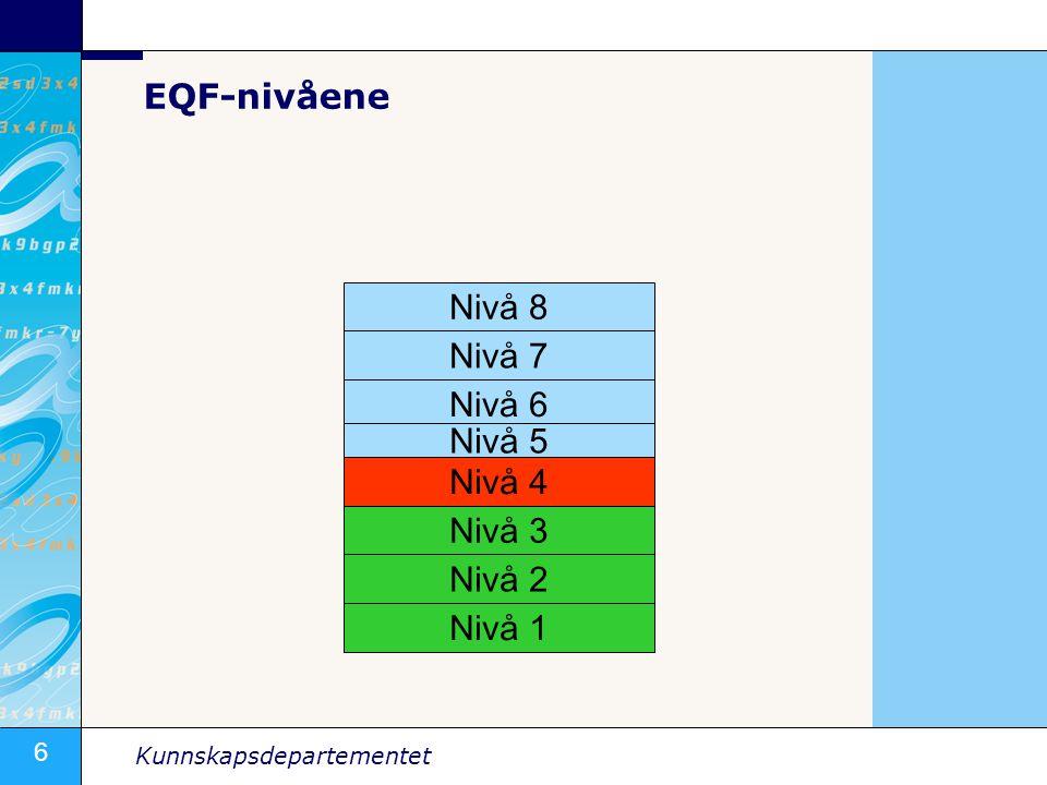 6 Kunnskapsdepartementet Nivå 8 Nivå 7 Nivå 6 Nivå 5 Nivå 4 Nivå 3 Nivå 2 Nivå 1 EQF-nivåene