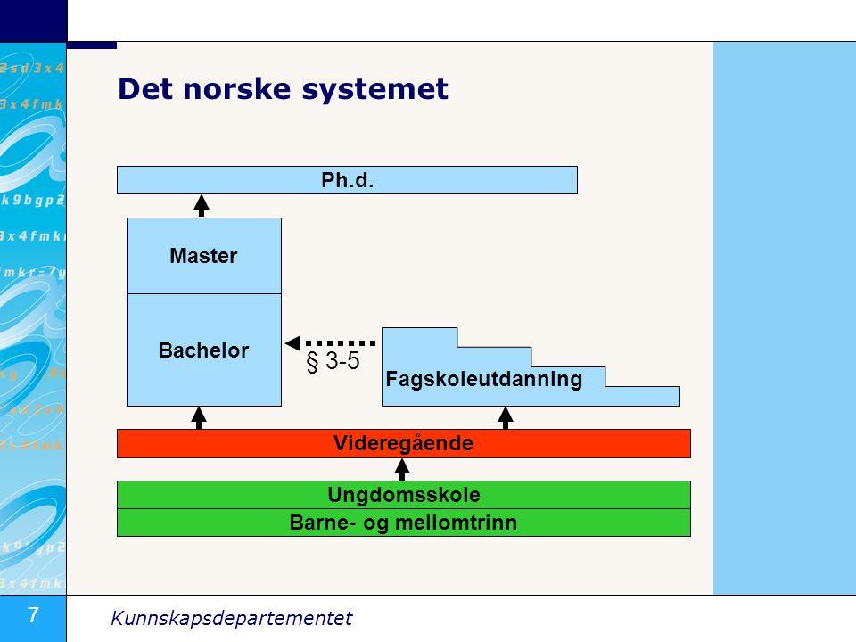 7 Kunnskapsdepartementet Det norske systemet Ph.d.