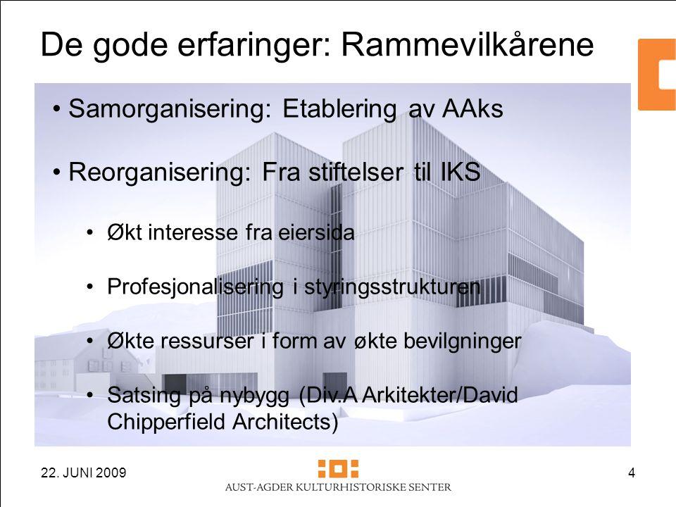 22. JUNI 20094 • Samorganisering: Etablering av AAks • Reorganisering: Fra stiftelser til IKS •Økt interesse fra eiersida •Profesjonalisering i styrin