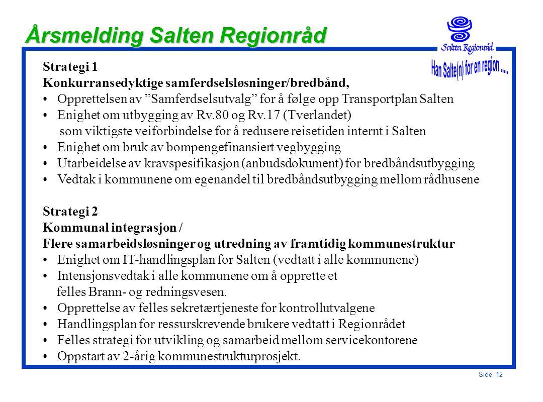Side 11 Salten Strategier 2004-2007 Strategi 1 Konkurransedyktige samferdselsløsninger, - inklusiv bredbånd Strategi 2 Kommunal integrasjon Flere sama