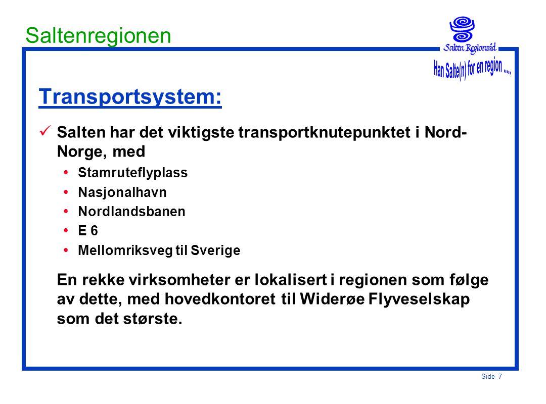 Side 7 Saltenregionen Transportsystem:  Salten har det viktigste transportknutepunktet i Nord- Norge, med  Stamruteflyplass  Nasjonalhavn  Nordlandsbanen  E 6  Mellomriksveg til Sverige En rekke virksomheter er lokalisert i regionen som følge av dette, med hovedkontoret til Widerøe Flyveselskap som det største.