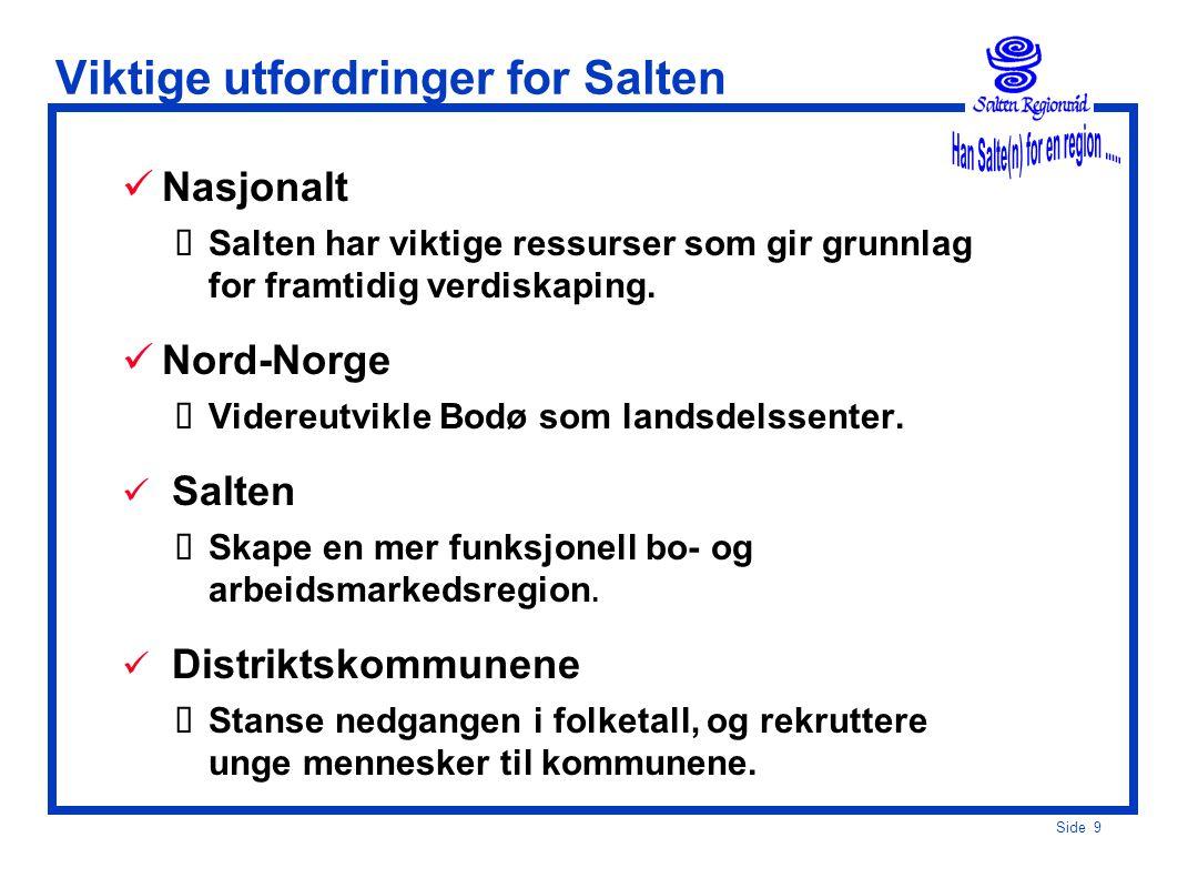 Side 9 Viktige utfordringer for Salten  Nasjonalt  Salten har viktige ressurser som gir grunnlag for framtidig verdiskaping.