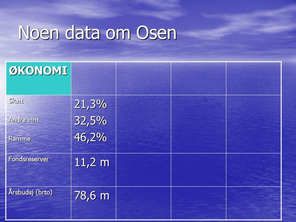 Noen data om Osen ØKONOMI Skatt Andre innt Ramme21,3%32,5%46,2% Fondsreserver 11,2 m Årsbudsj (brto) 78,6 m