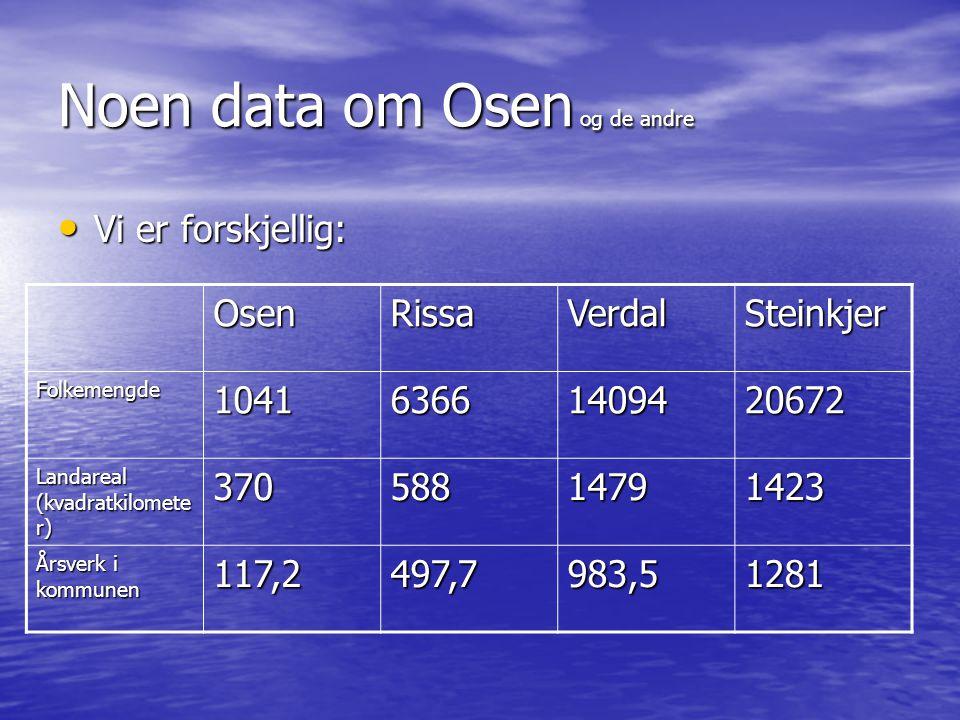 Noen data om Osen og de andre • Vi er forskjellig: OsenRissaVerdalSteinkjer Folkemengde104163661409420672 Landareal (kvadratkilomete r) 37058814791423 Årsverk i kommunen 117,2497,7983,51281