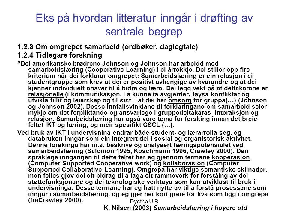 Dysthe UiB Eks på hvordan litteratur inngår i drøfting av sentrale begrep 1.2.3 Om omgrepet samarbeid (ordbøker, daglegtale) 1.2.4 Tidlegare forskning