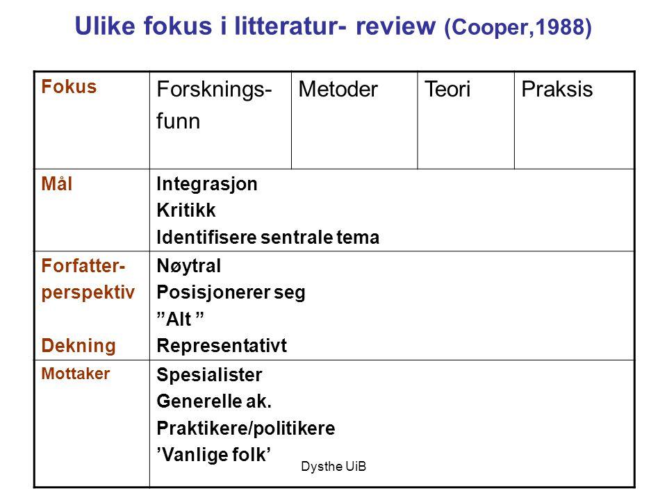 Dysthe UiB Ulike fokus i litteratur- review (Cooper,1988) Fokus Forsknings- funn MetoderTeoriPraksis MålIntegrasjon Kritikk Identifisere sentrale tema